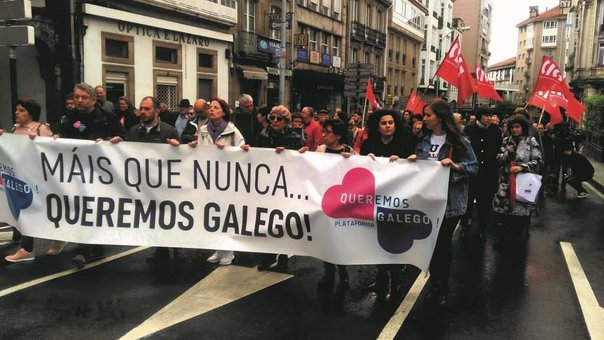 Mobilización en defensa do idioma convocada por Queremos Galego. (Foto: Europa Press)