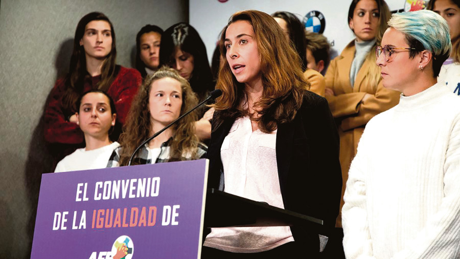 "Ainhoa Tirapu, gardamallas do Athletic de Bilbao, reclamou a ""inmediata"" sinatura do convenio colectivo. (Foto: AFE)"