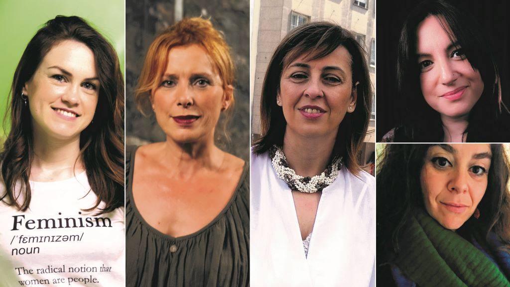 Antía Yáñez, Beatriz Maceda, Montse Fajardo, Anna R. Figueiredo e Cilha Lourenço, da directiva da AELG. (Foto: Nós Diario)