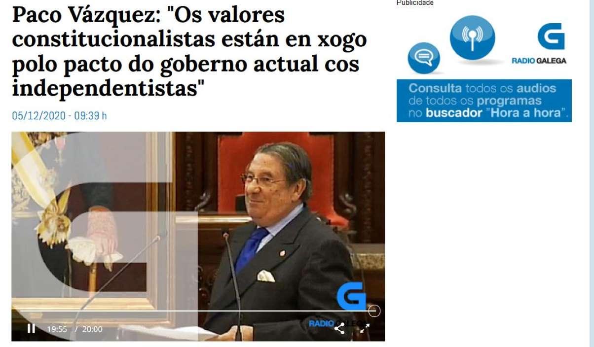 Entrevista en castelán ao ex alcalde da Coruña, Francisco Vázquez, en castelán (Imaxe: Captura).