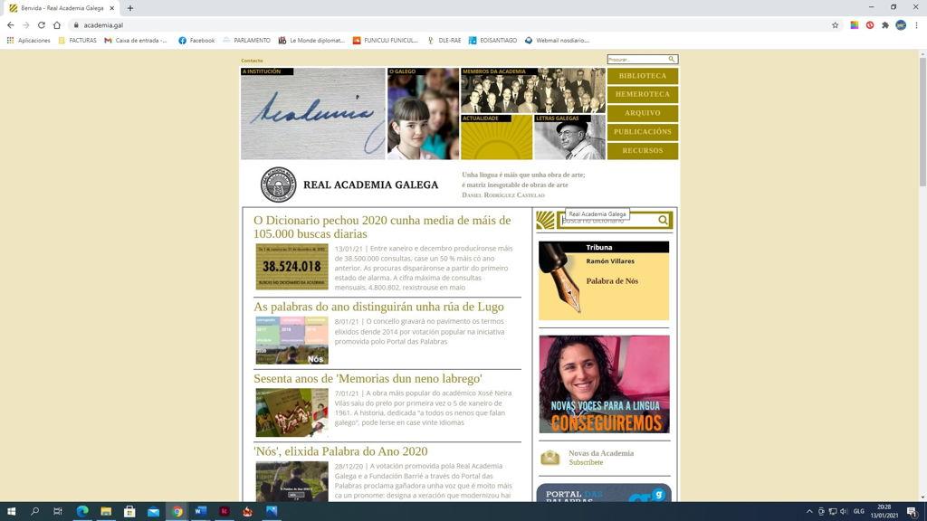 Imaxe do portal da Academia e do seu dicionario. (Foto: Nós Diario)