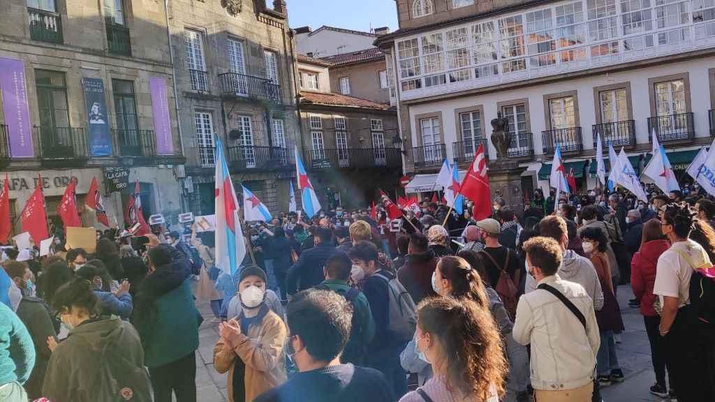 Concentración a prol do pobo palestino en Compostela. (Foto: Rubén Permui)
